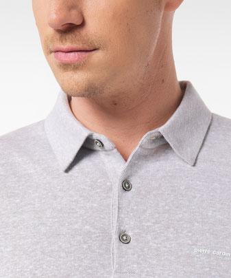 """Polo-Shirt aus einem Two-Tone Leinen-Cotton-Mix; außen Leinen, innen Baumwolle für angenehmen Tragecomfort, Logo """"pierre cardin"""" in 3D Optik bei deinem #sunny.schlangen in #grevenbroich #men #männermode"""