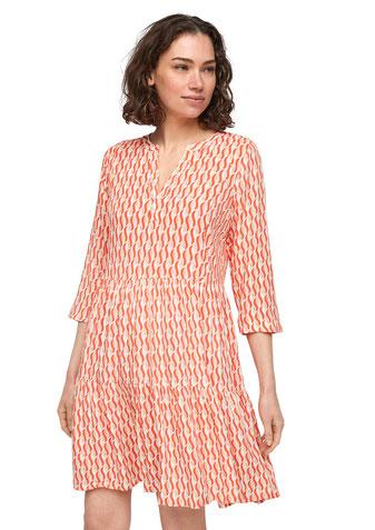 comma Stufenkleid mit Allover-Print orange 81.105.82.X049.20A2 #todayfortomorrow bei Deinem #sunny #summer #dress #sexy