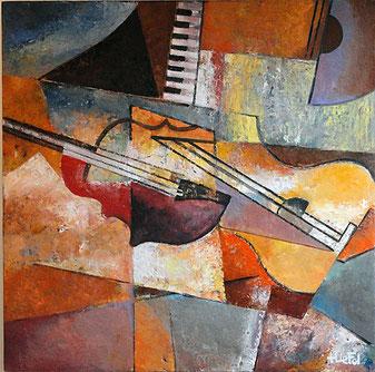 LIGNES MUSICALES huile/panneau bois 88x88   disponible