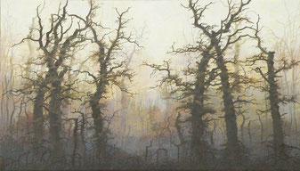 """Martin Guido Becker, """"Waldstück"""", Öl/Lwd, 80/140 cm"""