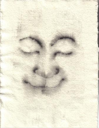 """""""Cara feliz 013"""" 29,6x21,5cm  wasserlösliches Graphit auf Reispapier. 2013"""