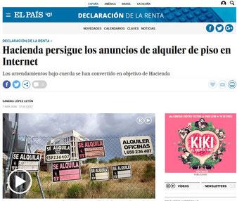 Article in El País Hacienda persigue los anuncios de alquiler de piso en Internet