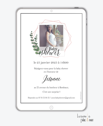 invitation-baby-shower-numérique-invitation-baby-shower-digital-baby-shower-numérique-pdf-numérique-baby-shower-connecté-baby-shower-invitation-baby-shower-à-envoyer-par-mms-par-mail-réseaux-sociaux-whatsapp-facebook-polaroid-eucalyptus-photo