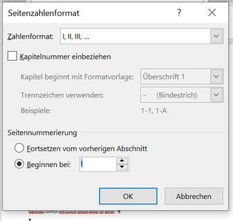 Seitenzahlen für neuen Abschnitt definieren