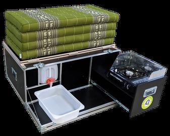 iQ-Campingbox 2.0 mit Kapok Matratze  geschlossen