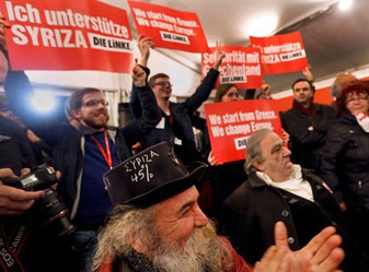 """En delegation fra """"Die Linke"""" ved Syrizas valgfest"""