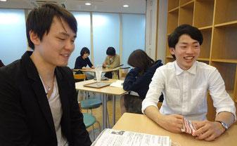サークルのやりがいを語 る國屋知暉さん(右)と 岡本健斗さん(左)=4 月 23 日、衣笠キャンパス ・学生会館