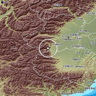 Mappa INGV che mostra dove è stato calcolato l'epicentro del Terremoto