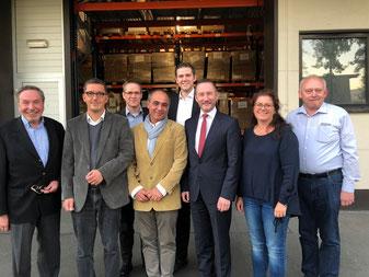 v.l.n.r.: Roland Stefan, Thomas Elkmann, Thorsten Baumgart, Michele Farina, Patrick Büker (Kreisvorsitzender der FDP), Stephen Paul, Susan Ehmke (FDP-Kreisvorstand) und Gottfried Göcke
