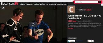 capture d'écran de Besançon.TV sur les 30h d'impro