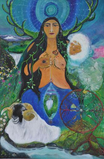 """""""Mari, la Gran Dama,"""" hilando un vellón de lana de su compañero Ahari. Su rueca, en eterno movimiento, mantiene activos los ciclos de regeneración de la vida. Al fondo, la tela de araña como imagen arquetípica del laberinto. Pintura de Paz Treuquil."""