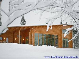 Echtes Blockhaus  mit Pultdach in massiver Blockbauweise - Architektenhaus - Pultdachhaus - Wohnblockhaus