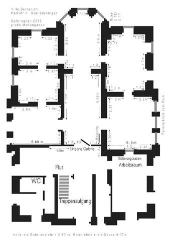 Grundriss der Ausstellungsräume. Vergrößererte Darstellung durch einen Klick darauf.
