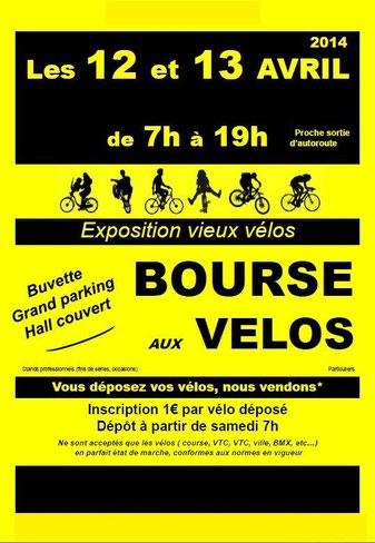 affiche jaune d'une bourse aux vélos d'occasion