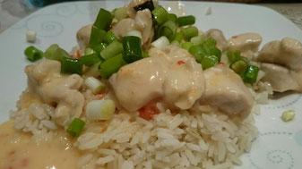 Feuriges Ofenhähnchen mit Reis