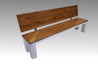 Sitzbank mit Lehne massivholz alte Eiche
