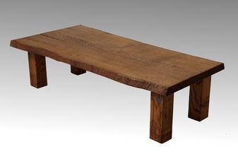 Baumtisch, Baumstamm Tisch aus einer Stammbohle Eiche
