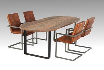 Esstisch Altholz mit Stahlgestell, Freischwinger Leder Stahl