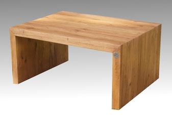 U-Form Beistelltisch, Couchtisch aus massiven Holz mit strukturierter Oberfläche