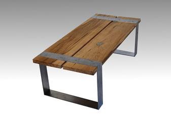 Wohnzimmertisch Altholz Stahl
