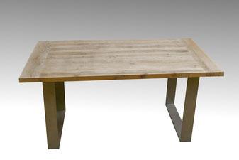 Esstisch, Landhaustisch antik weiß, Tischgestell Stahl