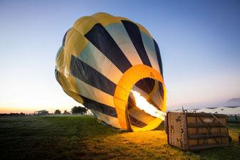 Heißluftballon vor dem Start