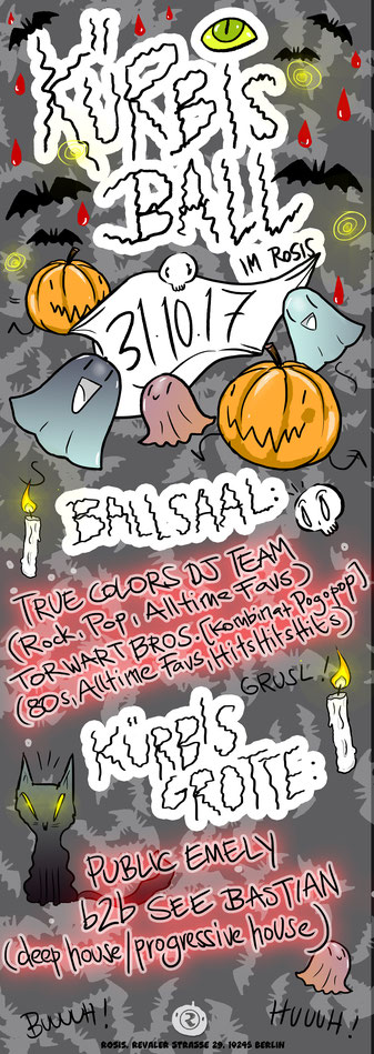 Plakat für die Rosis Halloween-Party