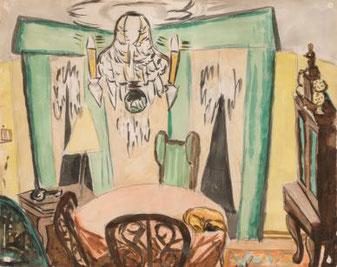 Max Beckmann, Das Wohnzimmer des Künstlers in Frankfurt, um 1931. VG Bild-Kunst Bonn 2017