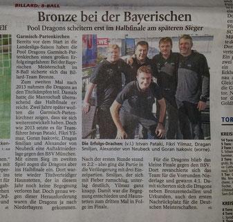 Der Zeitungsausschnitt über die LMM aus dem Garmischer Tagblatt