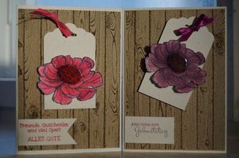 Geburtstagskarte mit Blume auf Holz - Stampin´Up!