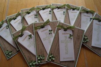 Kommunionkarten - wasabi, flüsterweiß und savanne