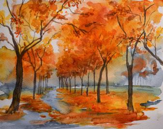 Aquarell, Aquarellbild, Wege durch den Herbst, Proportionen in der Malerei, Tiefe im Bild malen, Herbststimmung.