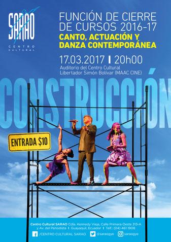 """Afiche de """"Construcción"""". Diseño de Eduardo Correa. Fotos de Amaury Martínez."""