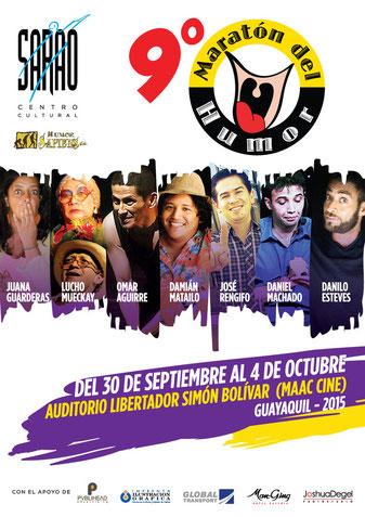Afiche Oficial de la novena edición del Maratón del Humor de SARAO. Diseño de Eduardo Correa.