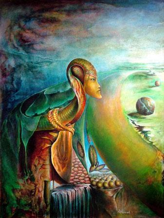 ''Sahmaran'' 118 X 90 cm Oil on Wood, de ayhantomak