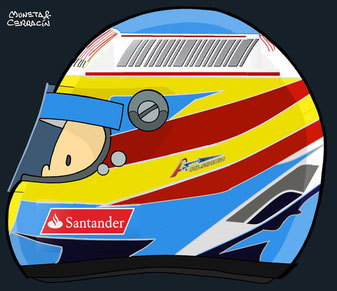 Helmet of Fernando Alonso by Muneta & Cerracin