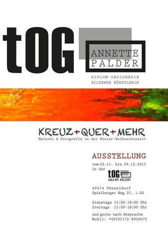 """Ausstellung, """"KREUZ + QUER + MEHR"""", Palder, Annette, Annette Palder, tOG, take OFF GALLERY, Plakat, Düsseldorf, Kunst, NRW, Vernissage"""