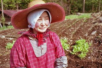eine Klein-Bäuerin vor ihrem Feld