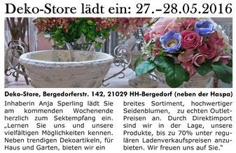 Die Bergedorfer Zeitung, veröffentlichte in den Ausgaben Bille - und Echo Wochenblatt, ein Interview, anläßlich unseres Sektemfangs.  Klicken Sie auf das Bild, um es zu vergrößern.  Ihr Deko-Store Team