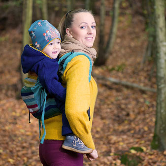 Huckepack Onbuhimo baby carrier, adjustable back panel, wrap conversion, back carrier.