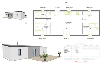 maison moderne de plain pied avec bac acier sur une toiture monopente