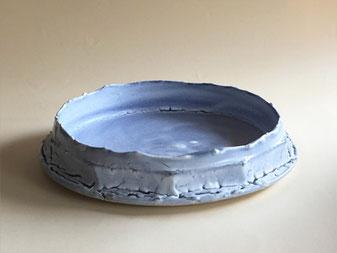 もみ灰釉呉須染水盤