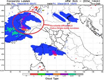 Modello matematico di previsione per la nuvolosità alle 10 di Venerdì 20 Marzo