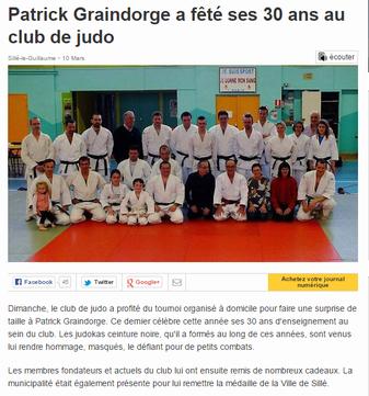 Patrick Graindorge a fêté ses 30 ans au club de judo - Ouest France 10-03-2015