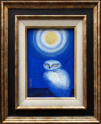 「月の鳥2」SM号 和紙 墨 金泥 岩絵の具 膠 金箔