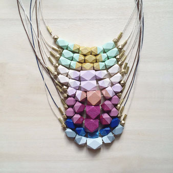 geometric wooden necklaces in different colors