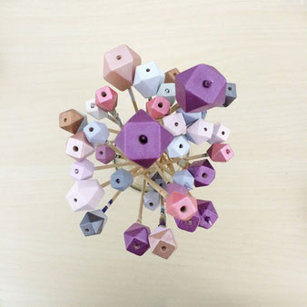hand painted wooden geometric beads