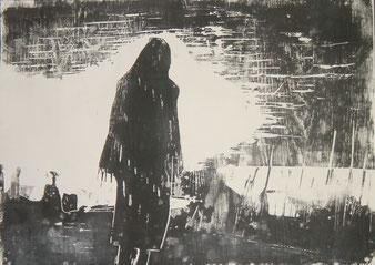 Joachim Graf, Flucht aus Dafur, Holzschnitt