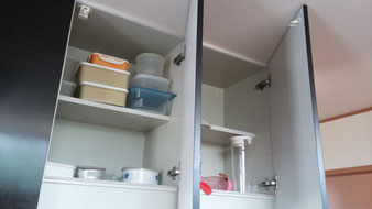 キッチンのハウスクリーニング時の収納部分の清掃範囲の画像