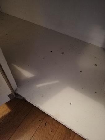 キッチン底板交換前、汚れや傷でぼろぼろです。